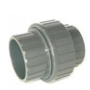 Enlace 3 piezas pvc presión encolar H-H D: 20mm