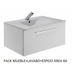 Pack mueble suspendido, lavabo y espejo Área 60