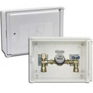 Caja contador agua / incluye: contador agua - valvula entrada y salida -llave puerta