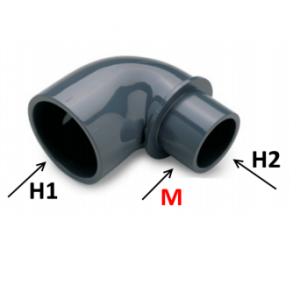 Codo multiple reducido hembra x macho - hembra pvc presión encolar 90º