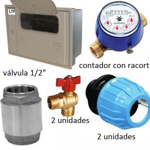 Conjunto caja contador agua