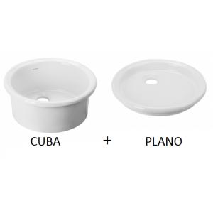Fregadero cerámico Cuba 45 + Plano 44  Unisan