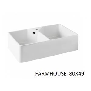 Fregadero cerámico Farmhouse 2 Cubetas  80x46 Unisan