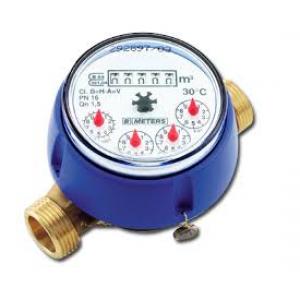 Contador agua residencial de chorro único con tuercas