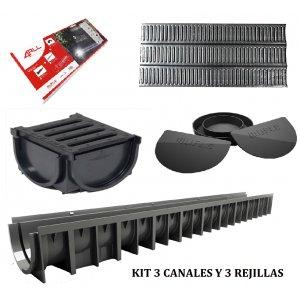 Kit 3 canaletas acero galvanizado
