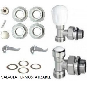Kit montaje radiador aluminio válvula termostatizable