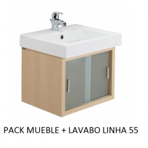 Pack mueble lavabo Linha suspendido 55
