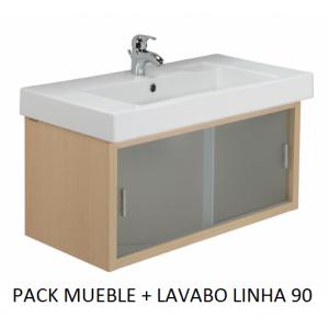 Pack mueble lavabo Linha suspendido 90