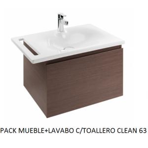 Pack mueble suspendido mas lavabo con toallero Clean 63