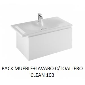 Pack mueble suspendido mas lavabo con toallero Clean 103
