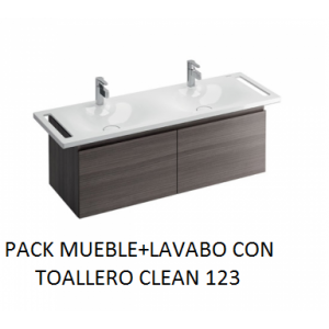 Pack mueble suspendido mas lavabo con toallero doble Clean 123