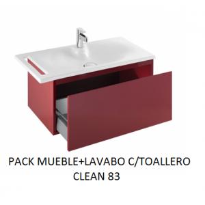 Pack mueble suspendido mas lavabo con toallero Clean 83