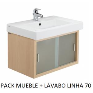 Pack mueble lavabo Linha suspendido 70