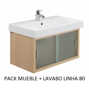 Pack mueble lavabo Linha suspendido 80