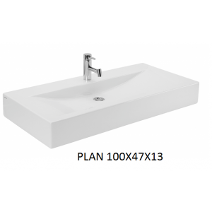 Lavabo Plan sobre mueble (100x47x13) UNISAN