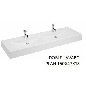 Lavabo Plan doble sobre mueble (150x47x13) UNISAN