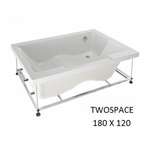 Bañera rectangular acrílica Twospace con soporte